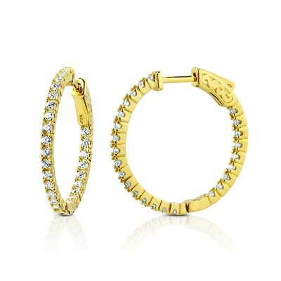 BERRICLE Gold Flashed Sterling Silver CZ Inside-Out Hoop Earrings 1""
