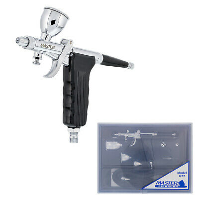 Spray Gun Tip PISTOL TRIGGER AIRBRUSH SET KIT 3 Cups Detail Touch-Up Auto Paint