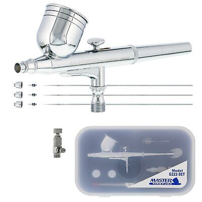 Master Airbrush G222 Pro Set Dual-Action Gravity Feed, 3 Tip Kit 0.2, 0.3, 0.5mm