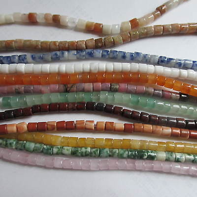 "Natural Gemstone Heishi/Cylinder Beads Choice of 12 Cols- 15.5"" Strand 4mm x 3mm"