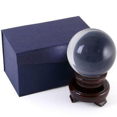 CLAIRVOYANCE CRYSTAL BALL & STAND 8cm CLEAR Magic HEALING BALL Sphere SCRYING