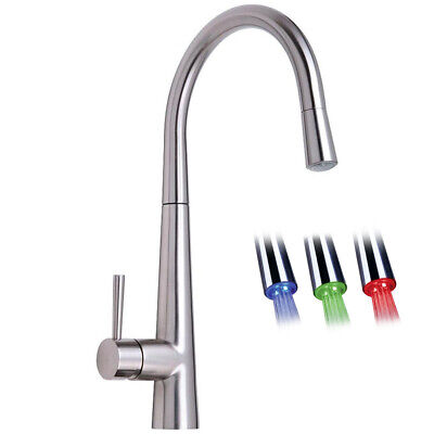 Astini Palazzo Brushed Steel Pullout Spout LED Kitchen Sink Mixer Tap HK86
