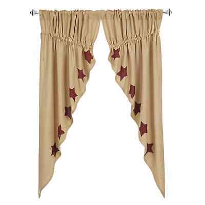 Burlap Burgundy Stencil Star Prairie Curtain Set Khaki Natural Rustic Primitive