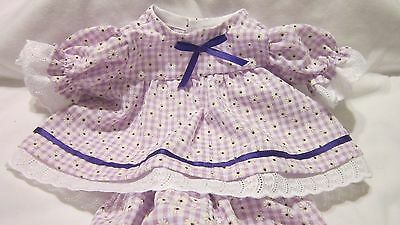"""Lav Gingham Floral Print Dress/Bloomers fits 16-18""""Cabbage Patch/Beren Babies"""