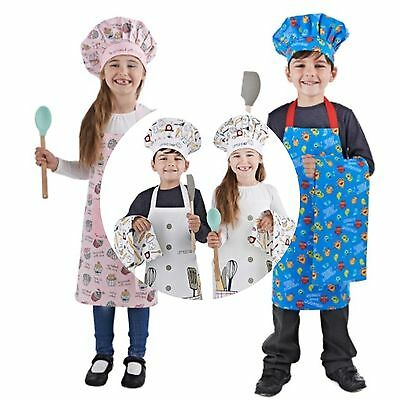 Kids 3 Piece Chef Set Boys Girls Hungry Little Monsters Apron Chef Hat Tea Towel