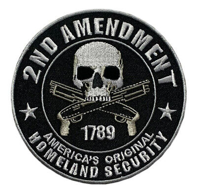 Homeland Security 2Nd Amendment Skull Round Nra Gun  Patch Iron On