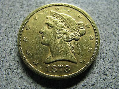 1878 $5 Gold Coin - GREAT DETAIL AND COLOR
