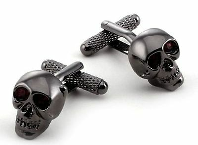 Skull with Red Crystal Eyes Novelty Cufflinks  NEW in Gift Box - 22669