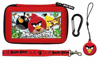 Nintendo 3DS & DSi * NEW Official ANGRY BIRDS 3D Gamer 4 pc RED Carry Case Set *