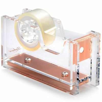 "Insten Acrylic Desktop Tape Dispenser Stationery (1""Core) Clear/Rose Gold Deluxe"