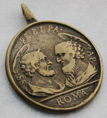 Antique Bronze Medal Pendant HOLY STAIRS VATICAN St. Peter Paul 17th C. Medalla