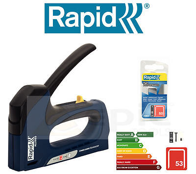 RAPID Hand Staple Gun Stapler/Tacker Nailer For Upholstery + 8mm Staples ALU953
