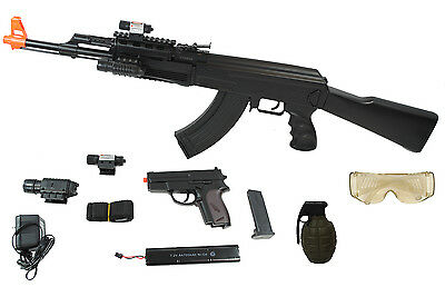 UKARMS AK47 AIRSOFT Electric Rifle AEG Full Auto TACTICAL BLACK Laser and  Light