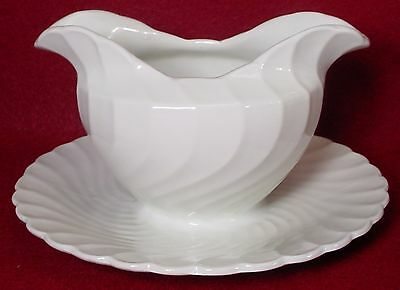BURGESS & LEIGH china QUEEN'S WHITE pattern GRAVY BOAT