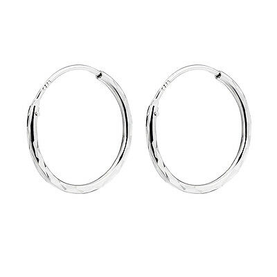 Real 925 Sterling Silver Shiny Polish Round Hoop Huggie Clip-On Earrings Jewelry
