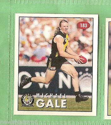 1996  Richmond Tigers  Afl Select  Sticker #183  Michael Gale