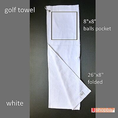 "Golf Tour Towel Two fold  26"" x 8"" Golf  Velour White Color Key chain Hook"