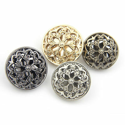 12PCS New Boutique Hollow Flower Fashion Metal Round Shank Buttons 20 22 25 mm