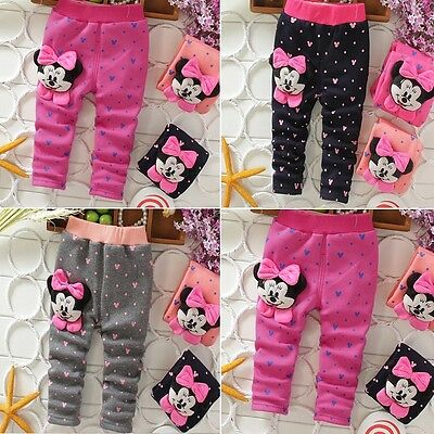 Minnie Mickey Kids Baby Girls Winter Warm Thick Leggings Fleece Lined Pants