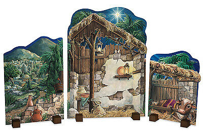 BYERS CHOICE Nativity Backdrop Set of 3 Panels&Wooden Stands Now Discontinued