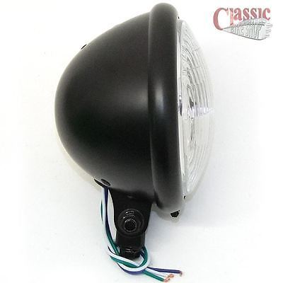 Bottom Mount Cafe Racer Bobber Motorcycle Satin Black Headlight Bates 5.3/4""