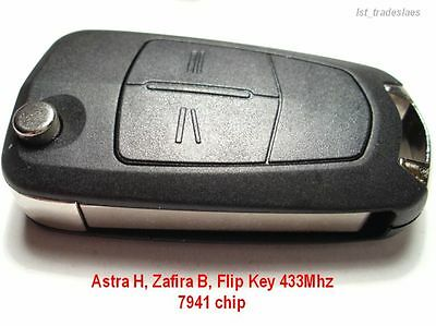 NEW VAUXHALL/OPEL 2 BUTTON FLIP REMOTE KEY FOB for ASTRA H, ZAFIRA B, 433Mhz