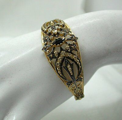 Beautiful Antique Silver And Gold Ornate Bangle with Old mine cut  Sapphires