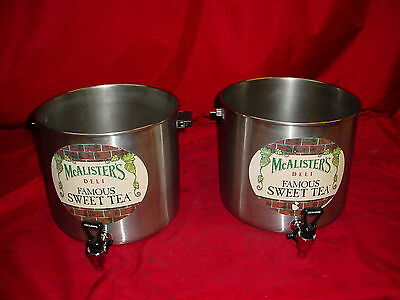 Lot of 2 Cecilware Stainless Beverage Dispensers McAlister's Famous Sweet Tea