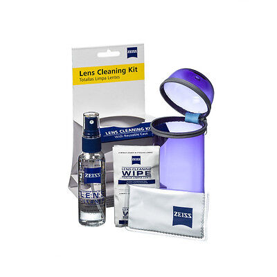 NEW Zeiss Lens Care Kit w/ Reusable Purple Case Lens Spray Wipes Cleaning Cloth