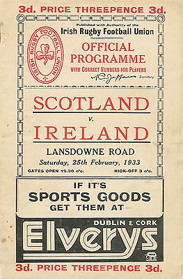 Ireland v Scotland 1 Apr 1933 RUGBY PROGRAMME Scottish Triple Crown Match *RARE*