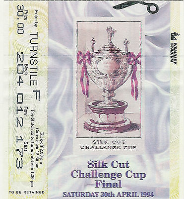 Leeds v Wigan 30 Apr 1994 Challenge Cup Final RUGBY LEAGUE TICKET