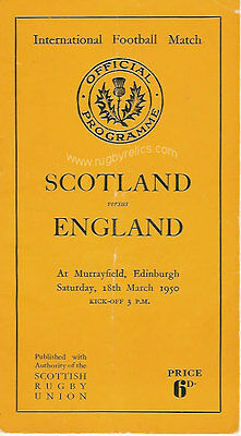 Scotland v England 1950 RUGBY PROGRAMME 18 March