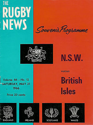BRITISH LIONS v NEW SOUTH WALES, NSW, AUSTRALIA 21 May 1966 RUGBY PROGRAMME