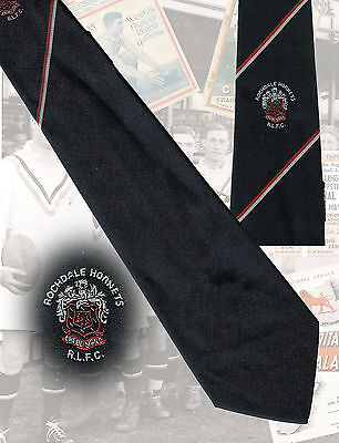 Rochdale Hornets RLFC players tie, David Stephenson 8.5cm RUGBY LEAGUE TIE