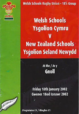 Wales v New Zealand Schools 18's group 2002 The Gnoll, Neath RUGBY PROGRAMME