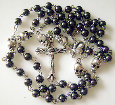 nice catholic black rosary Beads & silver skull Rosary Prayer Necklace box cross