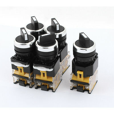 AC 380V 10A 2 Positions DPST Rotary Selector Select Switch Latching Lock 5 Pcs