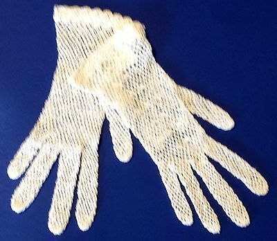 Vintage Lace Gloves Girls Peking Crochet Wedding Handcrafted White Costume Prop