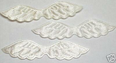 Satin Embossed angel wings Appliques x 100 White -Cardmaking