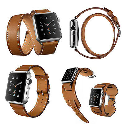 Real Genuine Leather Band Strap Bracelet Watchband For Apple Watch iWatch New