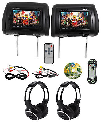 "Rockville RDP711-BK 7"" Car Headrest Monitors w/DVD/USB/HDMI + Games + Headphones"