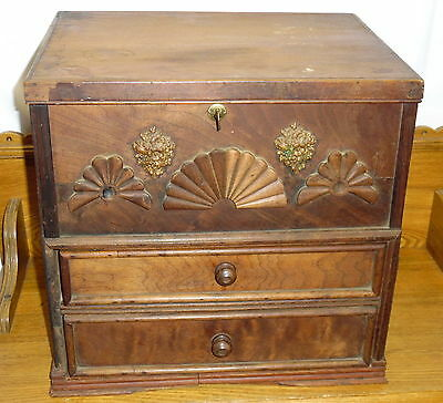 Antique Walnut Two Drawer Lift Top Chest w/ Till