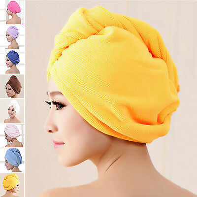 New Women Hair Drying Wrap Towel Hat Microfiber Bath Shower Cap Quick Dry Turban