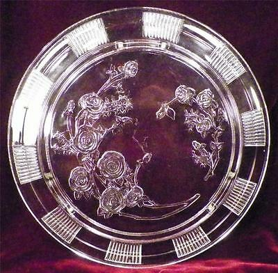 Sharon Cabbage Rose Depression Glass Cake Plate Federal Clear Footed Vintage VG