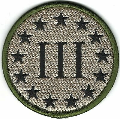 "3"" Multicam 3% III Three Percenter Percent Patch VELCRO® BRAND Hook Fastener"