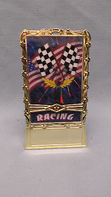 pinewood derby RACING full color hologram insert  patriotic trophy weighted base