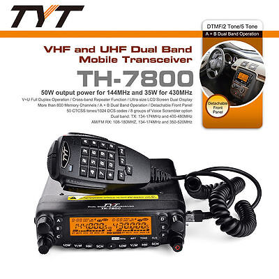 TYT TH-7800 Dual band 136-174/400-480MHz 50W 809CH Car Radio Mobile Transceiver
