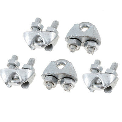 "5 Pcs Silver Tone Metal 4mm 5/32"" Wire Rope Clip Cable Clamp Fastener"