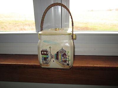Vintage Canister/ Cookie Jar With Rattan Handle & Chinese Row Houses