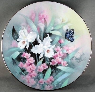 Tan Chun Chiu Sapphire Wings Collector Plate  --  Jewels of the Flowers Series